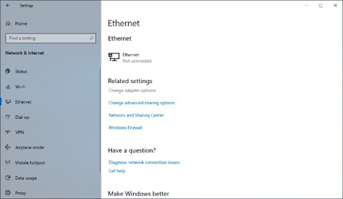 "Click ""Select ""Ethernet"" and click ""Change adapter options"" in the Related settings to open ""Network connections"" screen."
