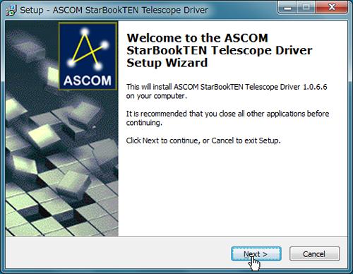 Execute the downloaded ASCOM driver for STAR BOOK TEN (ASCOM_SBT_Setup_ 1171.exe)