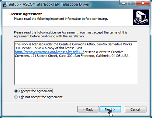 Execute the downloaded ASCOM driver for STAR BOOK TEN